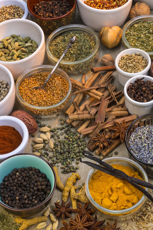 Spices and Dried Herbs royalty free stock photos