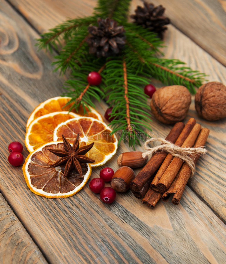 Spices and dried oranges royalty free stock photos