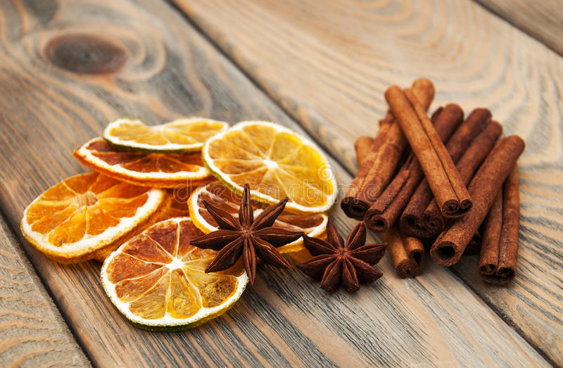 Spices and dried oranges stock image