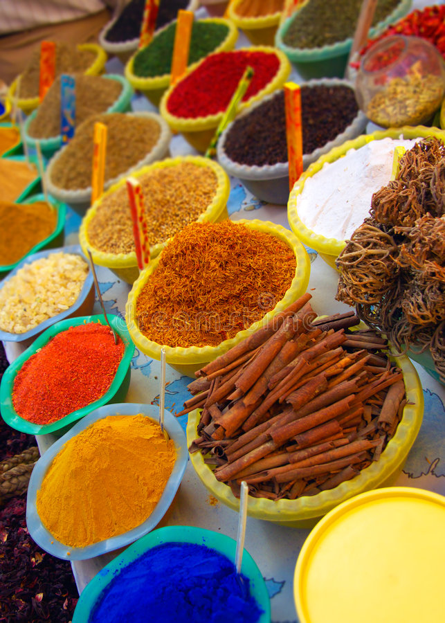 Spices and dyes. On an Arabian market stall