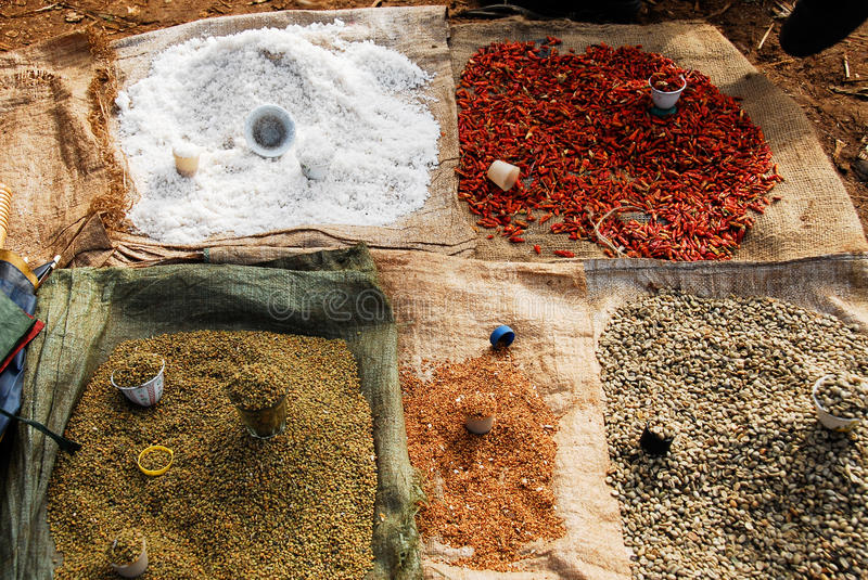 Spices at Ethiopia market stock photography