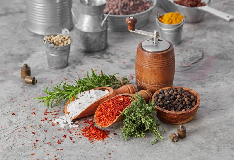 Spices and fresh herbs stock photography