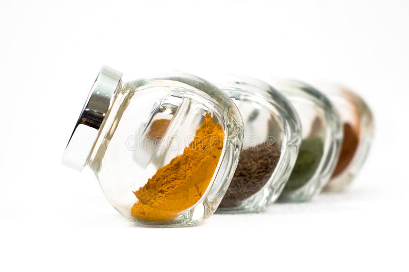 Spices in glass stock images
