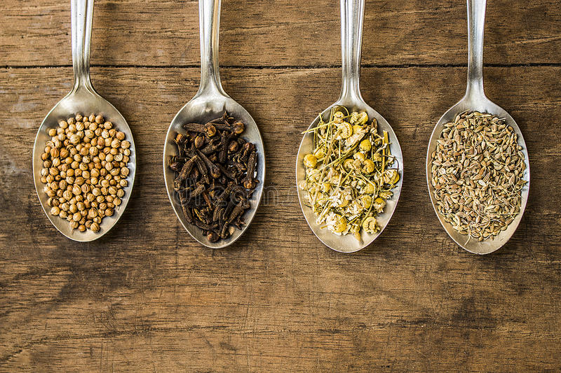 Spices and herbal tea ingredients on spoons. Spoons full of spices and herbal tea ingredients (coriander seeds, cloves, dry chamomile flowers and fennel stock photography