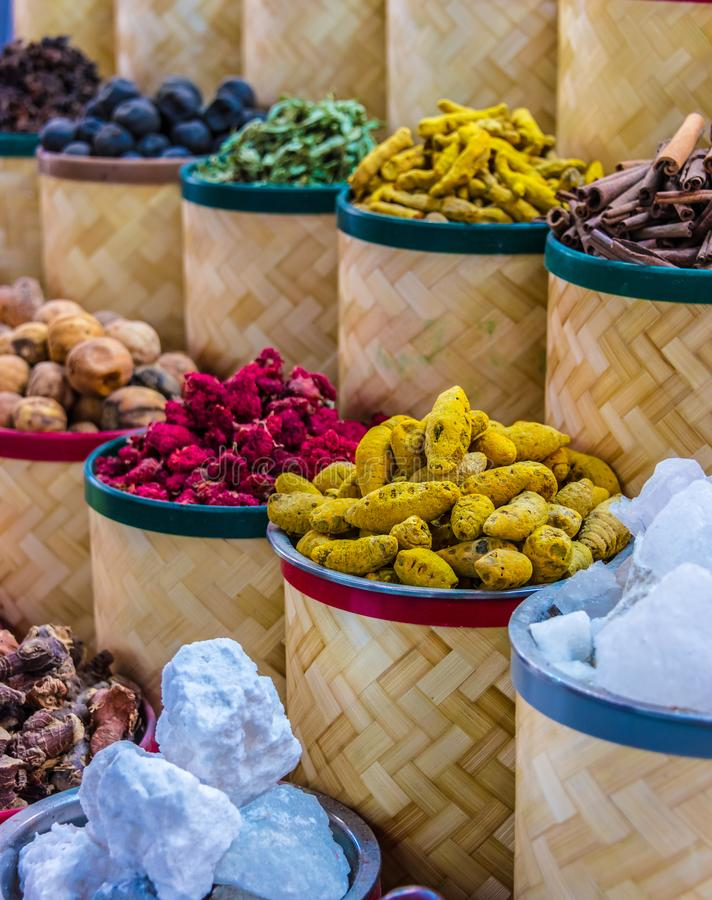 Spices and herbs on the arab street market stall royalty free stock photos