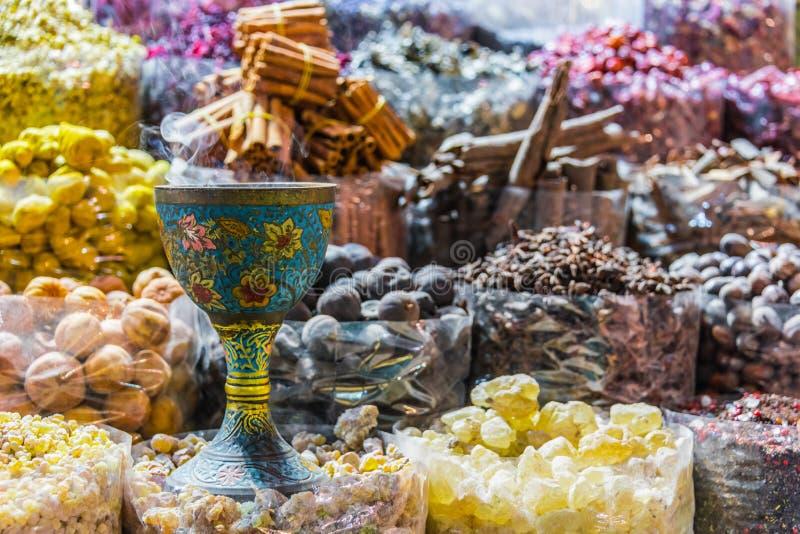 Spices and herbs on the arab street market stall. Variety of spices and herbs on the arab street market stall. Dubai Spice Souk, United Arab Emirates stock image