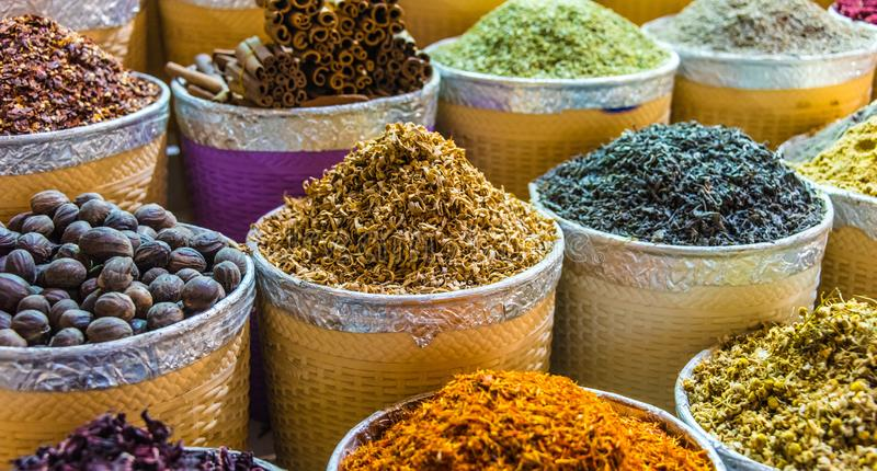 Spices and herbs on the arab street market stall. Variety of spices and herbs on the arab street market stall. Dubai Spice Souk, United Arab Emirates stock images