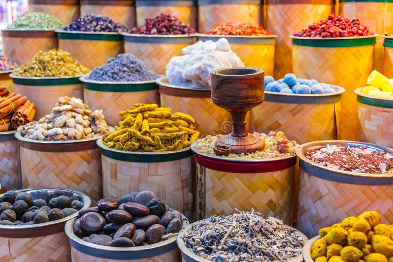 Spices and herbs on the arab street market stall. Variety of spices and herbs on the arab street market stall. Dubai Spice Souk, United Arab Emirates royalty free stock image