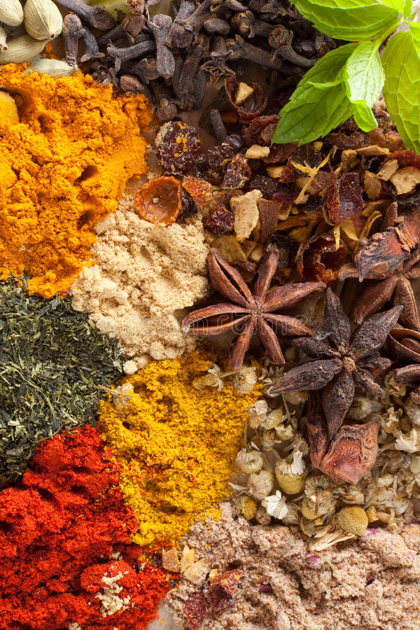 Spices And Herbs Background Stock Images