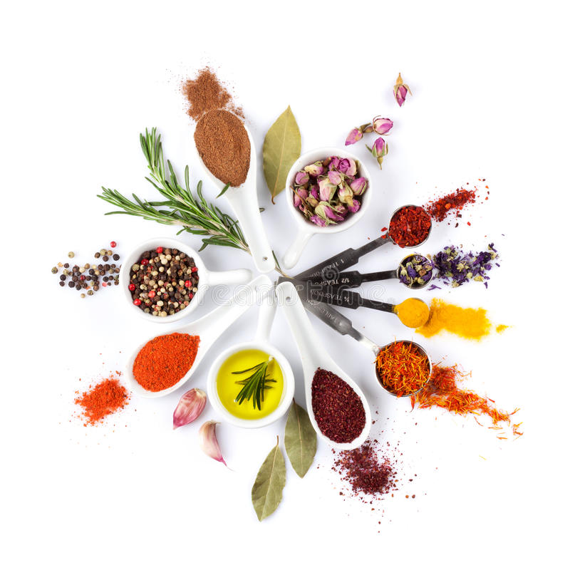 Spices, herbs and condiments royalty free stock photography