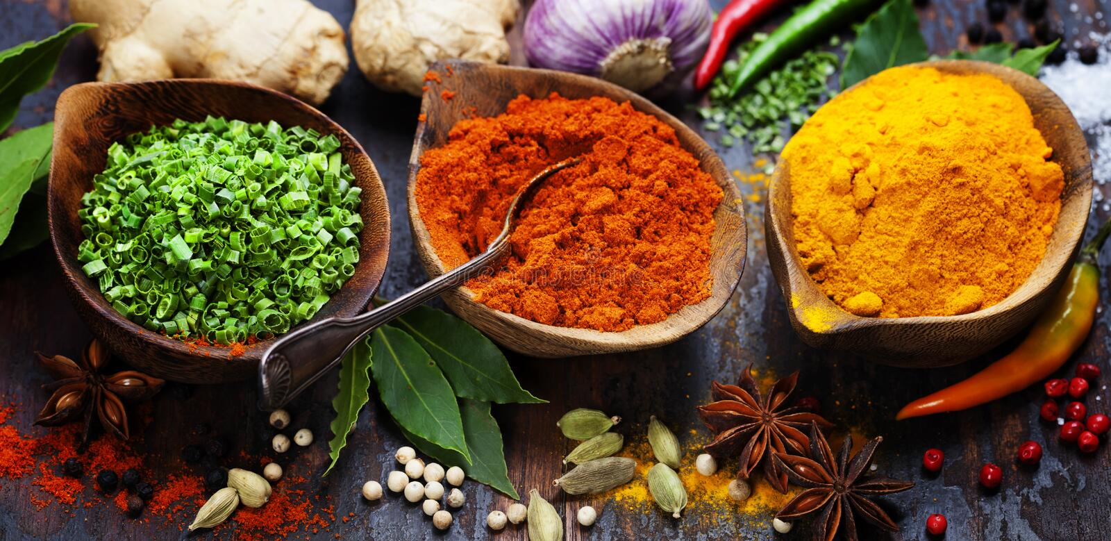 Spices and herbs royalty free stock photos