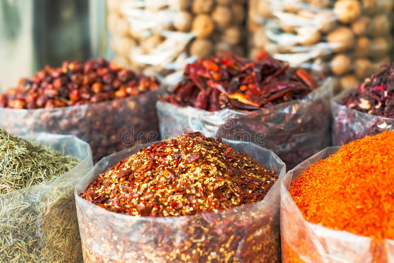 Spices and herbs souk in Dubai. Dried herbs, flowers , spices in the souk at Deira in Dubai stock photography
