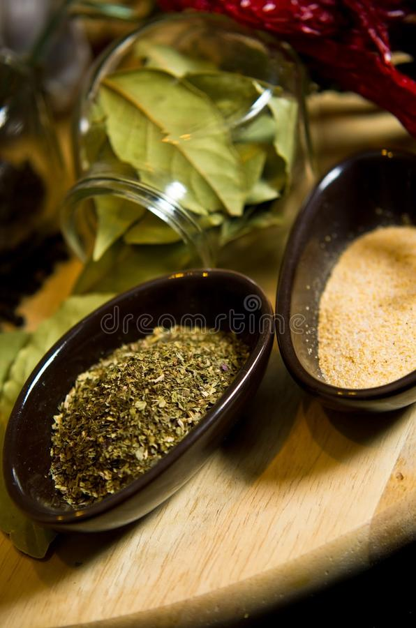 Spices and herbs still life stock photo