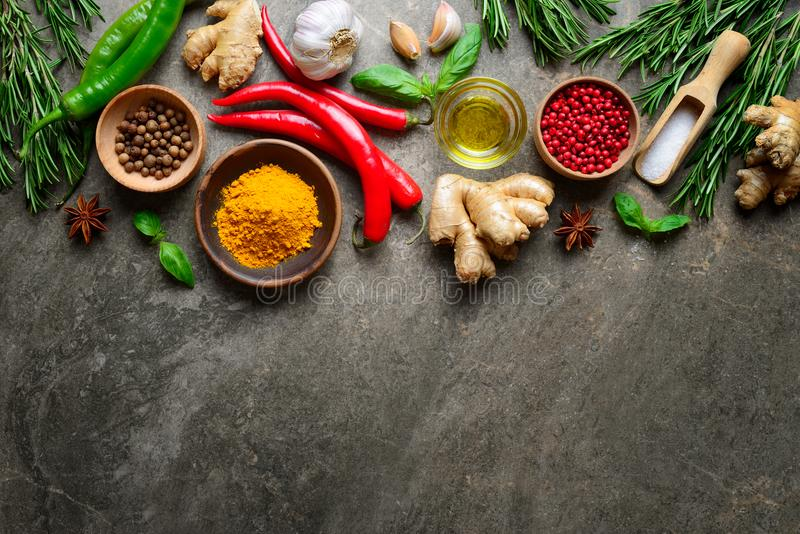 Spices, herbs and various other culinary ingredients background royalty free stock image