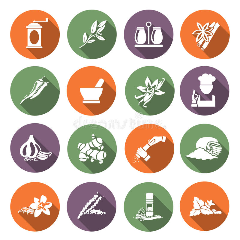 Spices icons flat. Herbs and spices flat icons set of chef cook culinary ingredients isolated vector illustration stock illustration