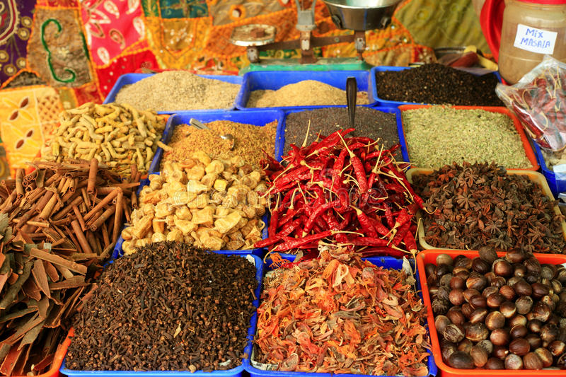 Spices in an Indian bazaar stock images