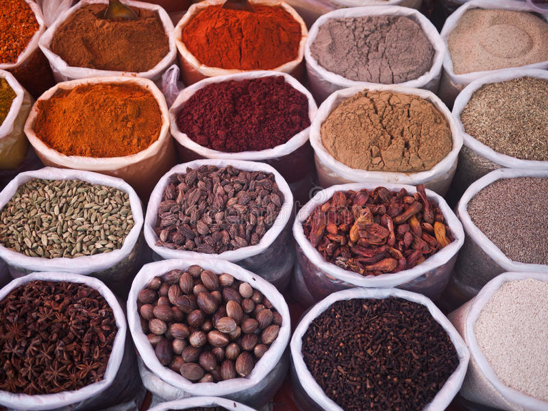 Spices in Indian market royalty free stock photos