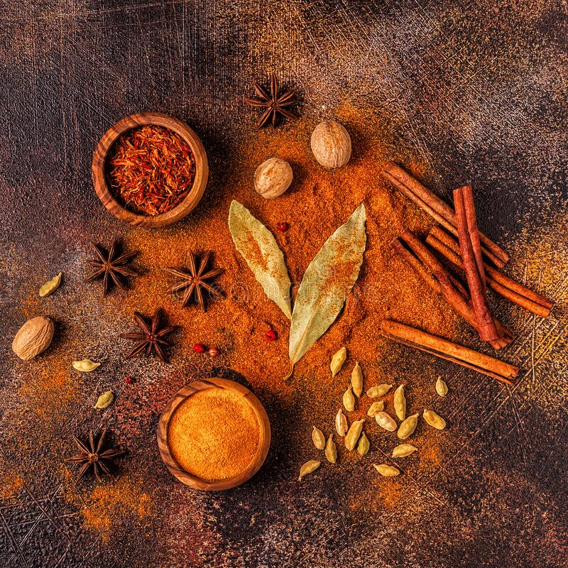 Spices ingredients for cooking. Spices concept royalty free stock photos