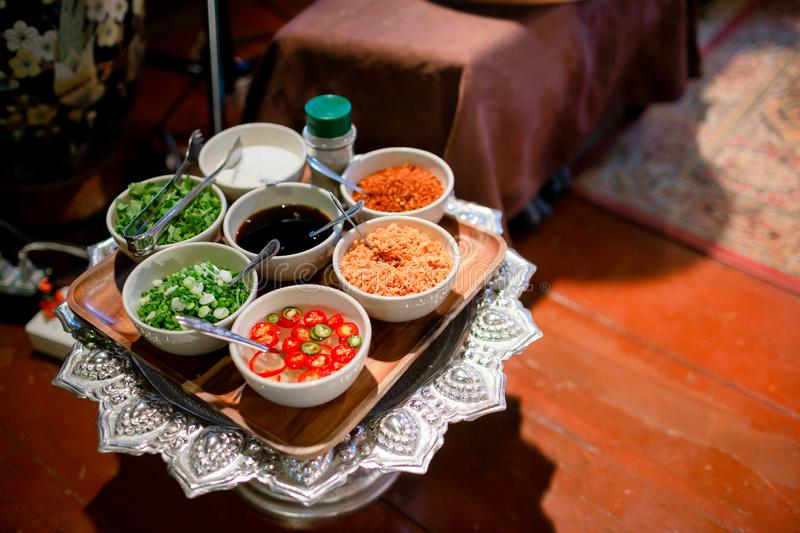 Spices with ingredients on dark background. asian food, healthy or cooking concept. Thai`s food. Ingredients of Thai spicy food, t stock photos