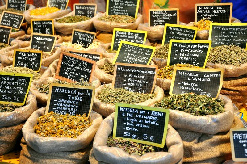 Spices in an italian market stock photo