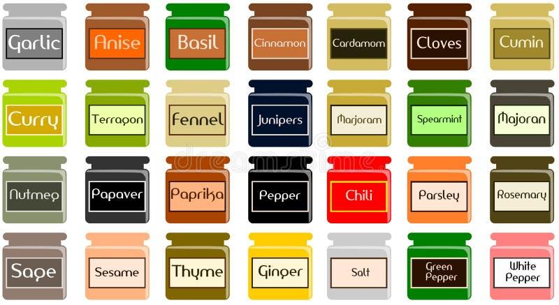 Spices jars royalty free illustration