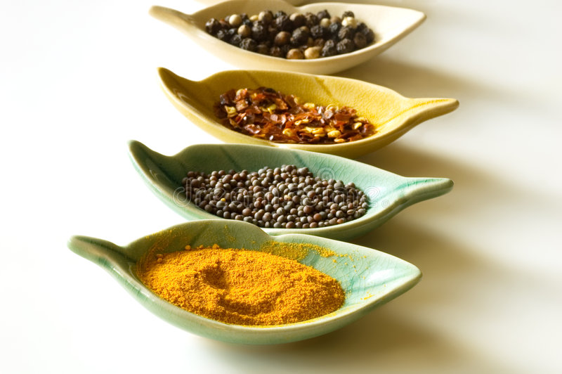 Download Spices In Leaf Shaped Fancy Bowls Stock Image - Image of ingredient, cuisine: 6814449