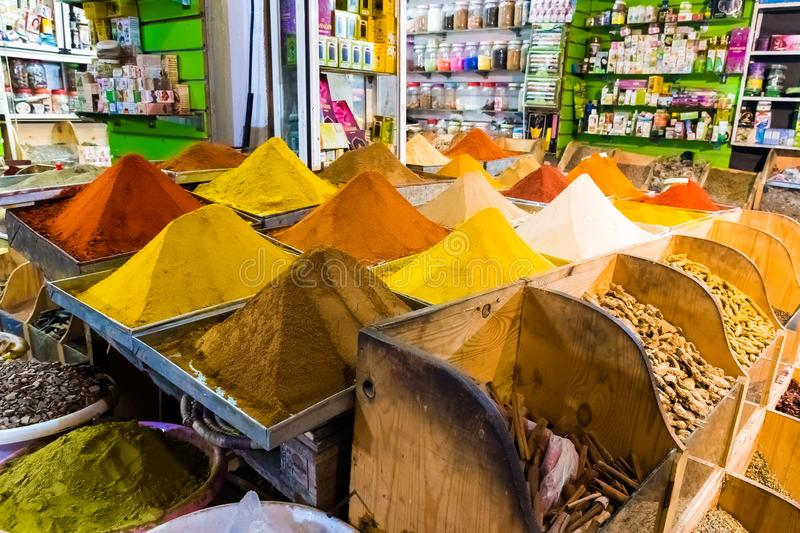 Spices market in main bazzar in the medina of Capital city Rabat, Morocco royalty free stock images