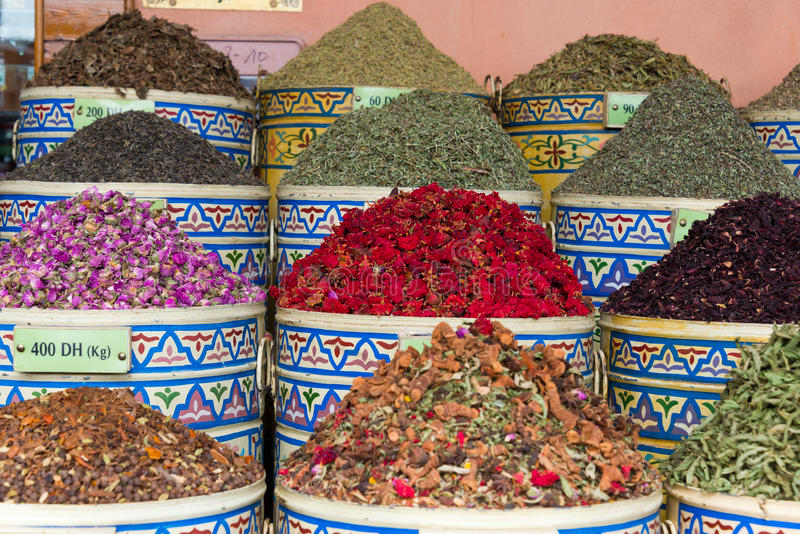 Spices on market stall. In marrakech, morocco stock image