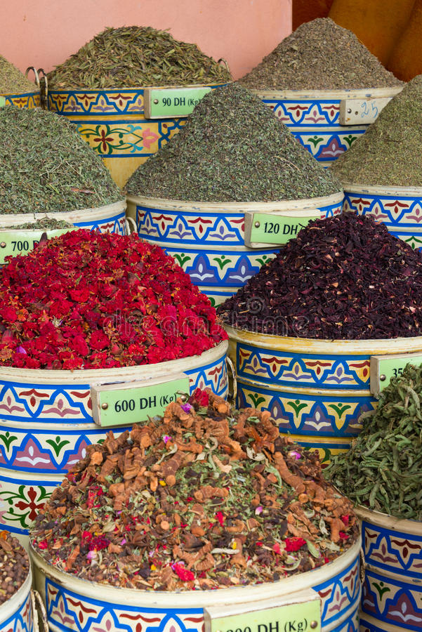 Spices on market stall. In morocco royalty free stock image