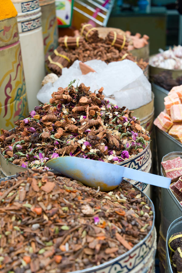 Spices on market stall. In morocco stock photo