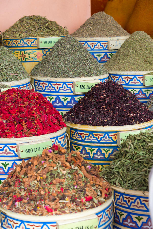 Spices on market stall. In morocco stock images