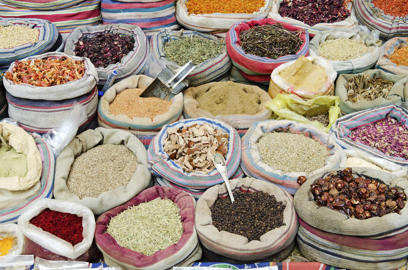 Spices in middle east market cairo egypt stock images