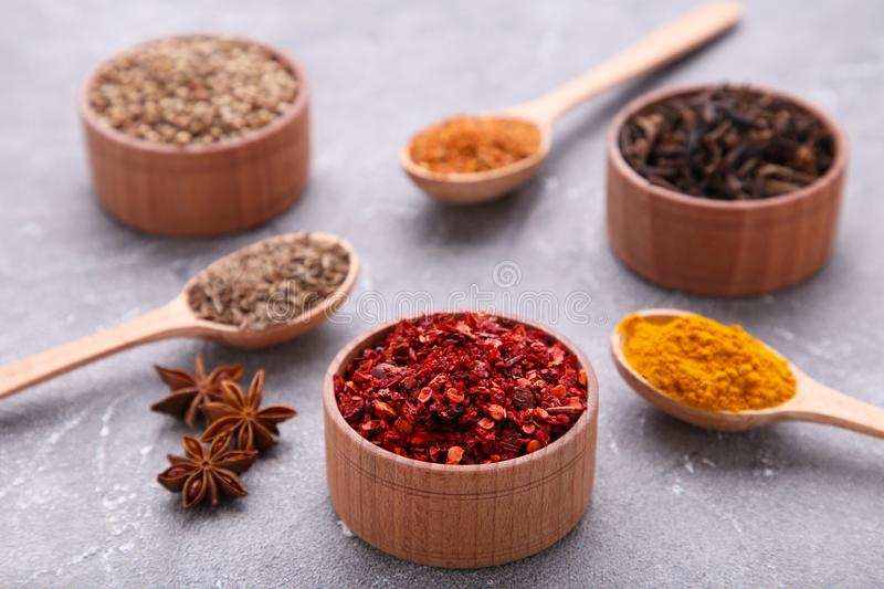 Spices mix on a grey background. Top view stock photos
