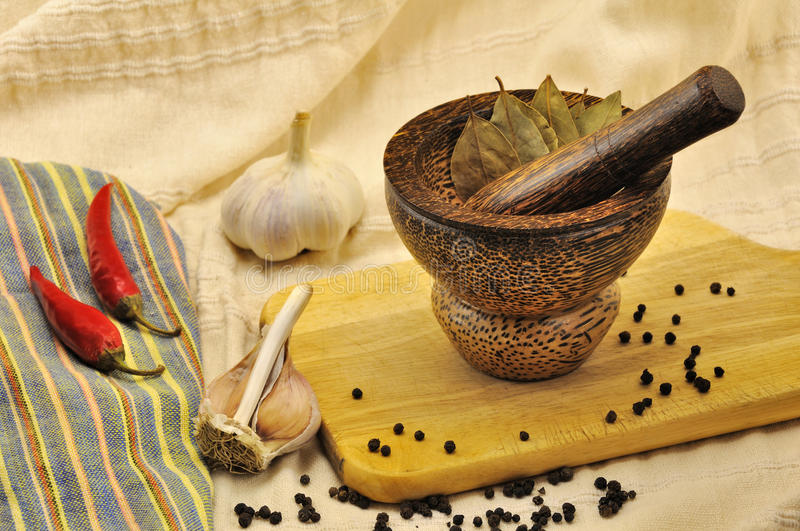 Download Spices And A Mortar On Kitchen Stock Image - Image: 11512249