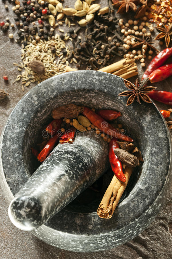 Spices with Mortar and Pestle royalty free stock image