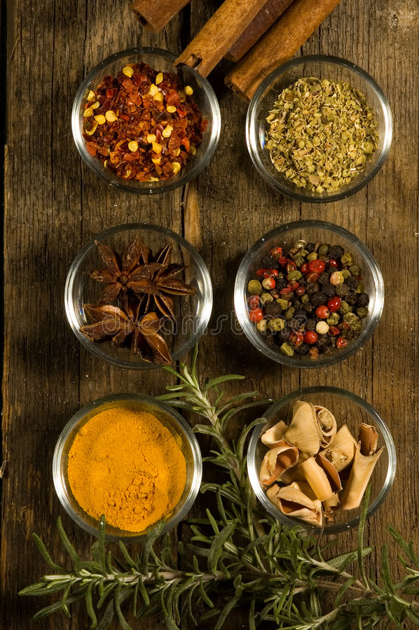 Spices on an old table royalty free stock photos