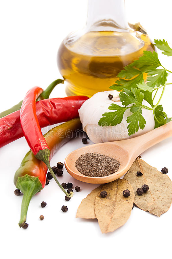 Download Spices and olive oil stock image. Image of composition - 20173753