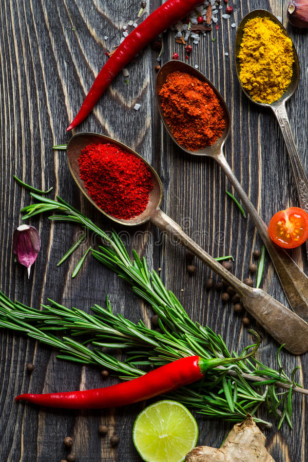 Spices over wooden background stock photo
