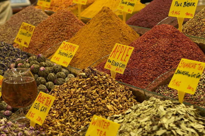 Spices for sale. Different spices for sale in Egyptian bazaar in Istanbul, Turkey stock images