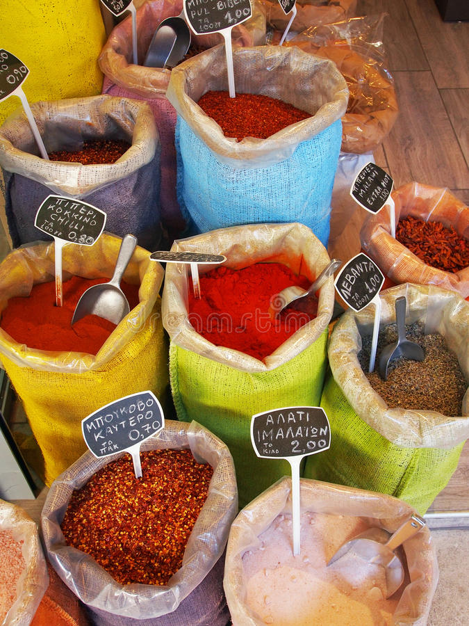 Spices for Sale, Athens Markets royalty free stock images