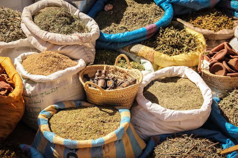Spices for sale at Souk. Ouarzazate. Morocco. Bags of spices for sale at the Souk. Ouarzazate. Morocco stock image