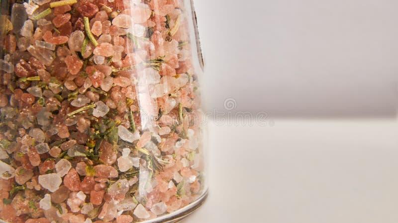 Spices and salt in jar stock photos