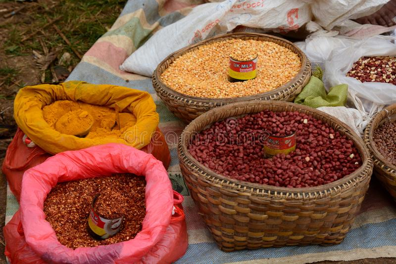 Spices and seeds on sale. Thaung Tho village weekly market. Inle lake. Myanmar. Inle lake is a freshwater lake located in the Nyaungshwe Township of Taunggyi royalty free stock photos