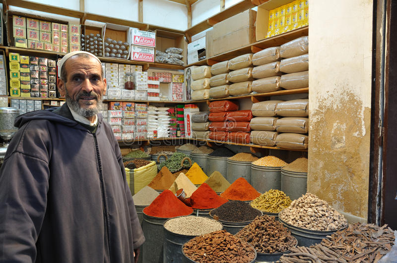 Spices seller in Morocco royalty free stock photography