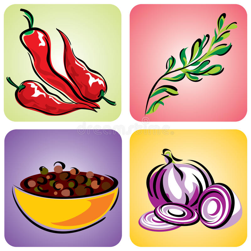 Download Spices set stock vector. Image of design, onion, color - 22387398