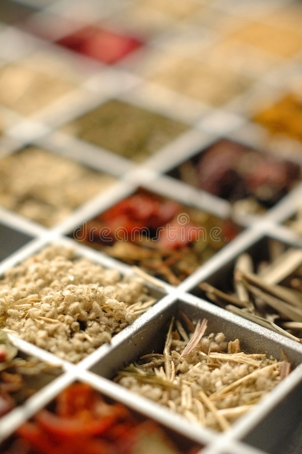 Spices set. Set of the orient spices lying in a wooden box royalty free stock photos