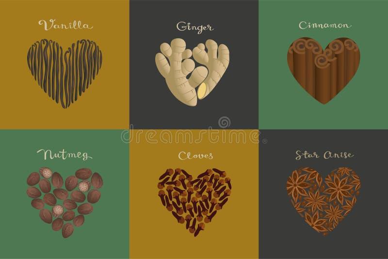 Set of spices in the heart shape. Vanilla, Ginger, Cinnamon, Nutmeg, Cloves, Star anise. Set of spices in the heart shape.  Vanilla, Ginger, Cinnamon, Nutmeg royalty free illustration