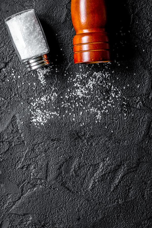 Free Spices Set With Salt And Saltcellar For Cooking On Stone Background Top View Mockup Stock Photography - 160657602