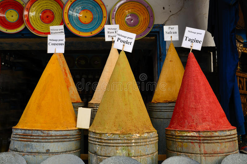 Spices shop in Morocco stock image