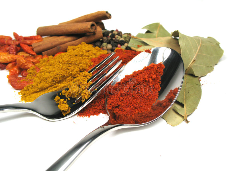 Spices and silverware. Some dried spices and silverware royalty free stock photo